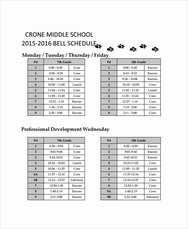 Sample High School Class Schedule Luxury 10 School Schedule Templates