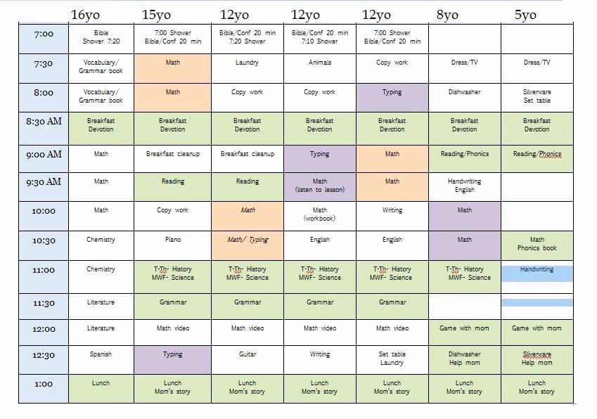 Sample High School Class Schedule Luxury 10 Unique Homeschool Schedules