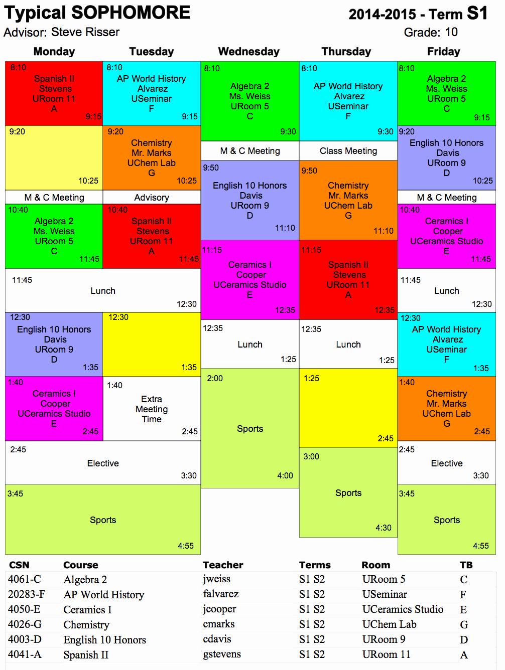 Sample High School Class Schedule New Typical Schedule Hs Ojai Valley School Private