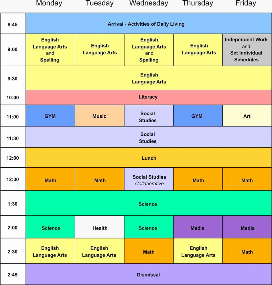 Sample High School Class Schedule New Weekly Schedule Brooklyn Blue Feather Elementary