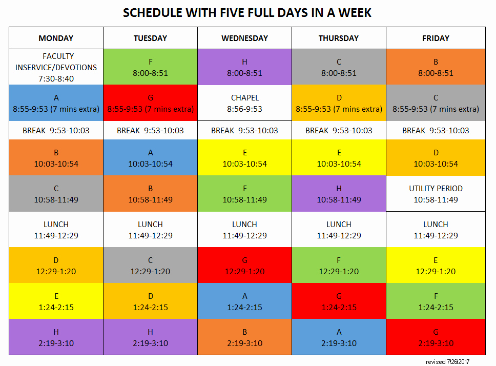 Sample High School Class Schedule Unique Academic Schedule Valley Christian High School