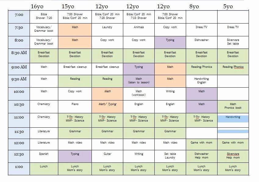 Sample High School Class Schedule Unique Sample Homeschool Schedule for Multiple Children