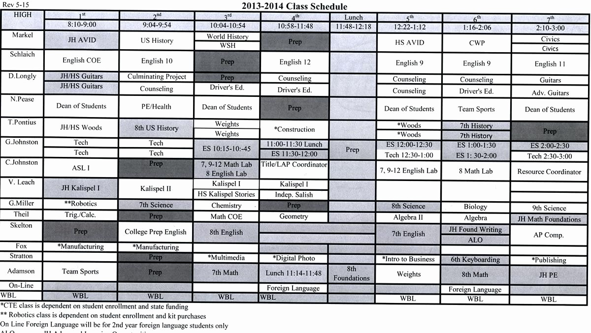 Sample High School Class Schedule Unique Template Template for Class Schedule