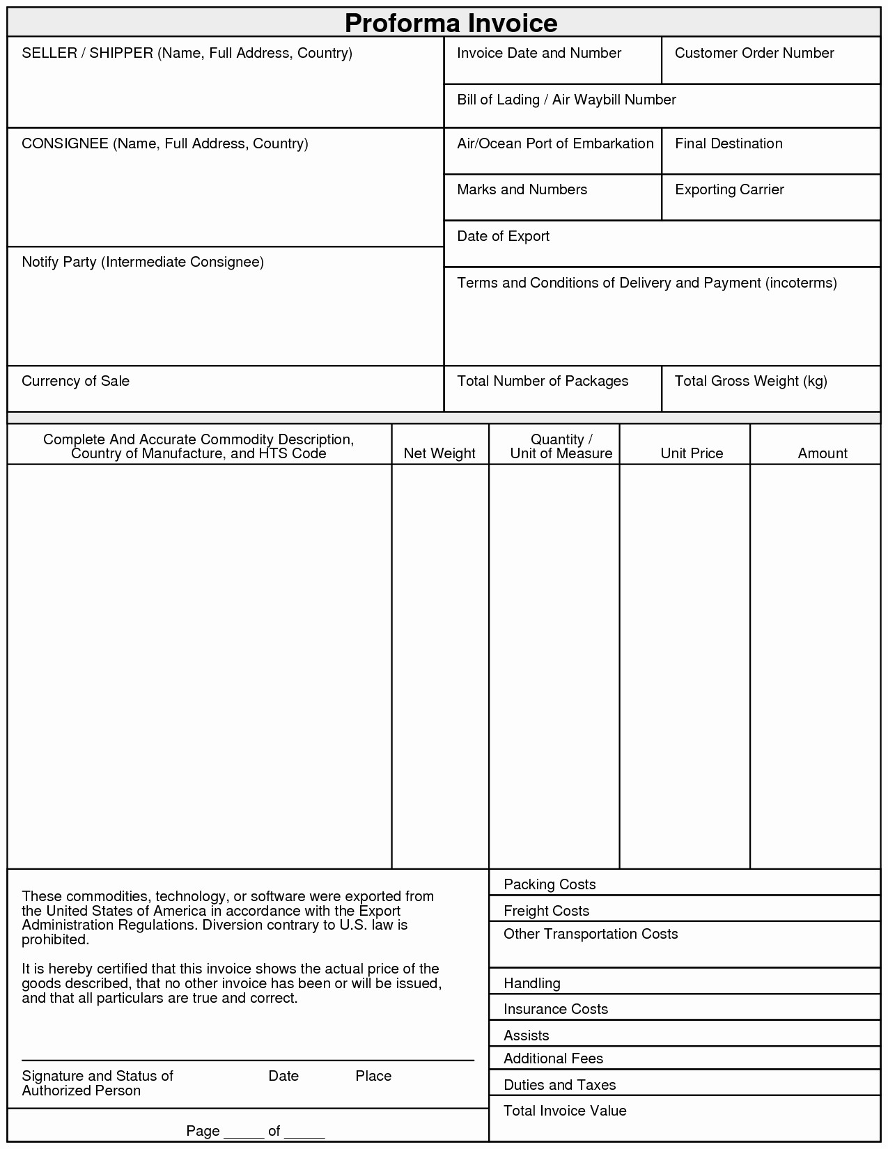 Sample Invoice format In Excel Best Of Proforma Invoice Template Pdf