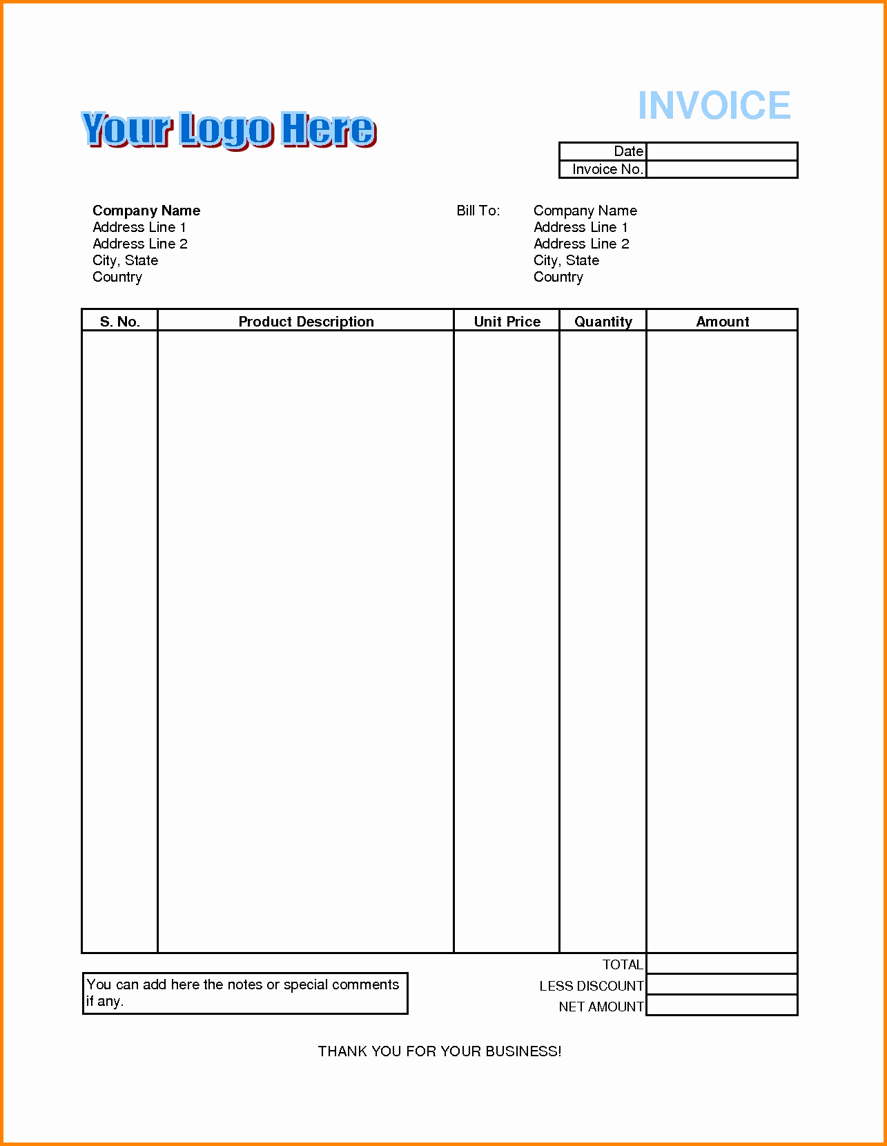 Sample Invoice format In Excel Fresh 8 Billing Invoice format In Excel