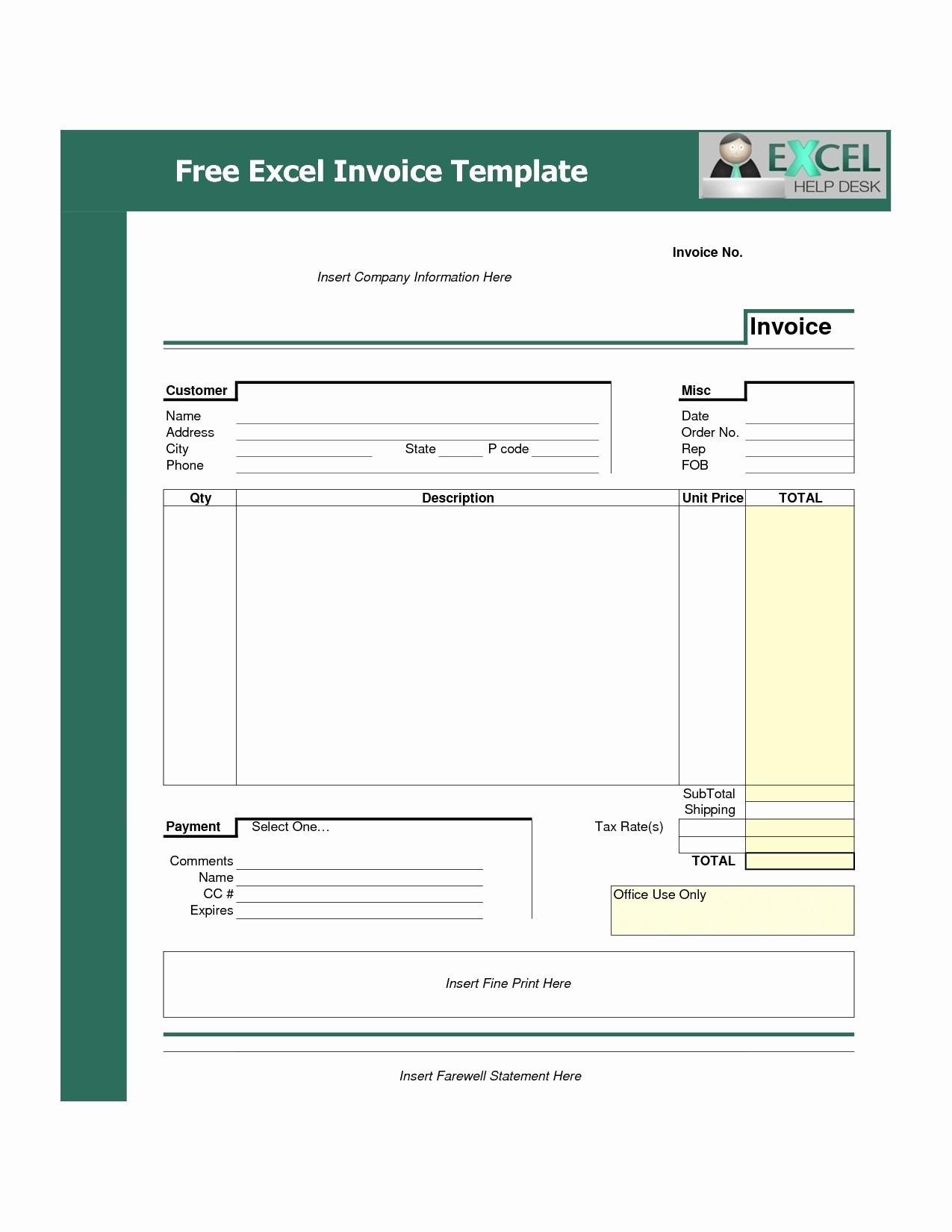 Sample Invoice format In Excel Fresh Invoice Template Free Download Excel Invoice Template Ideas