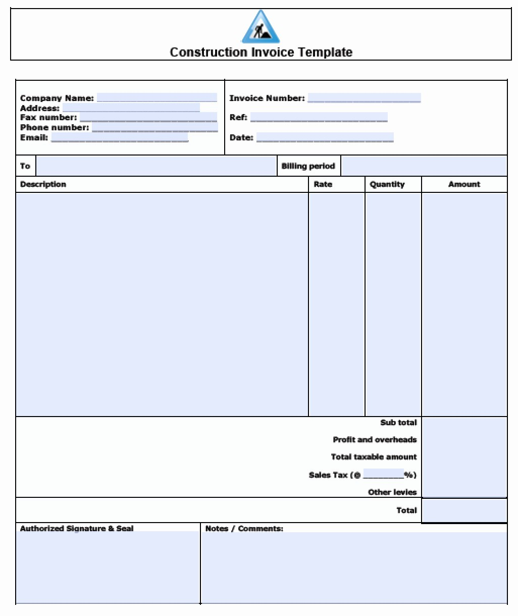 Sample Invoice format In Excel Lovely Construction Invoice Template Excel