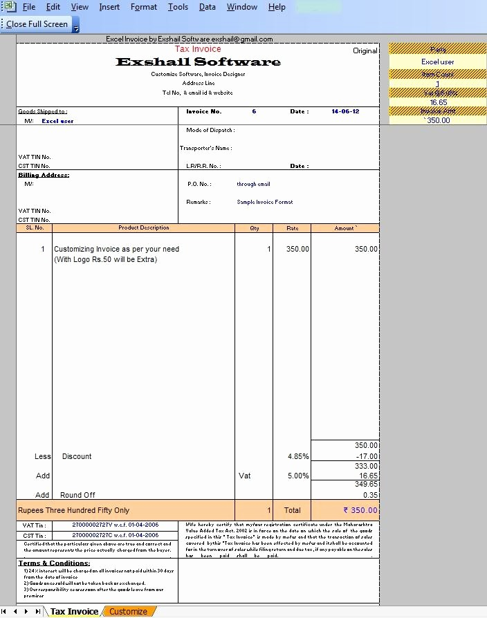 Sample Invoice format In Excel Lovely Invoice format India