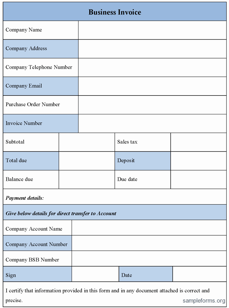 Sample Invoices for Small Business Elegant Business Invoice form Sample forms