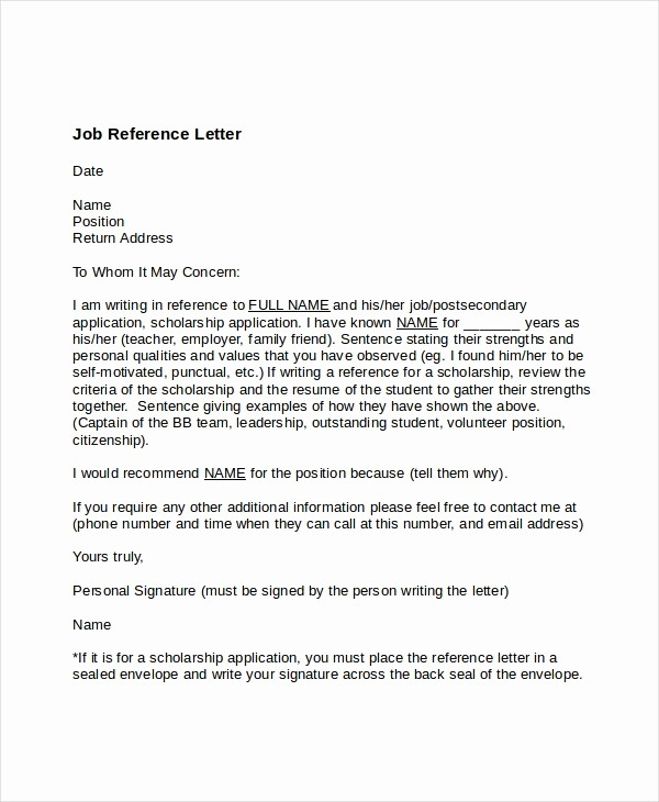 Sample Letter Of Recommendation Employee Best Of Job Reference Letter