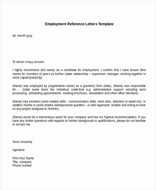 Sample Letter Of Recommendation Employee Lovely 10 Employment Reference Letter Templates Free Sample