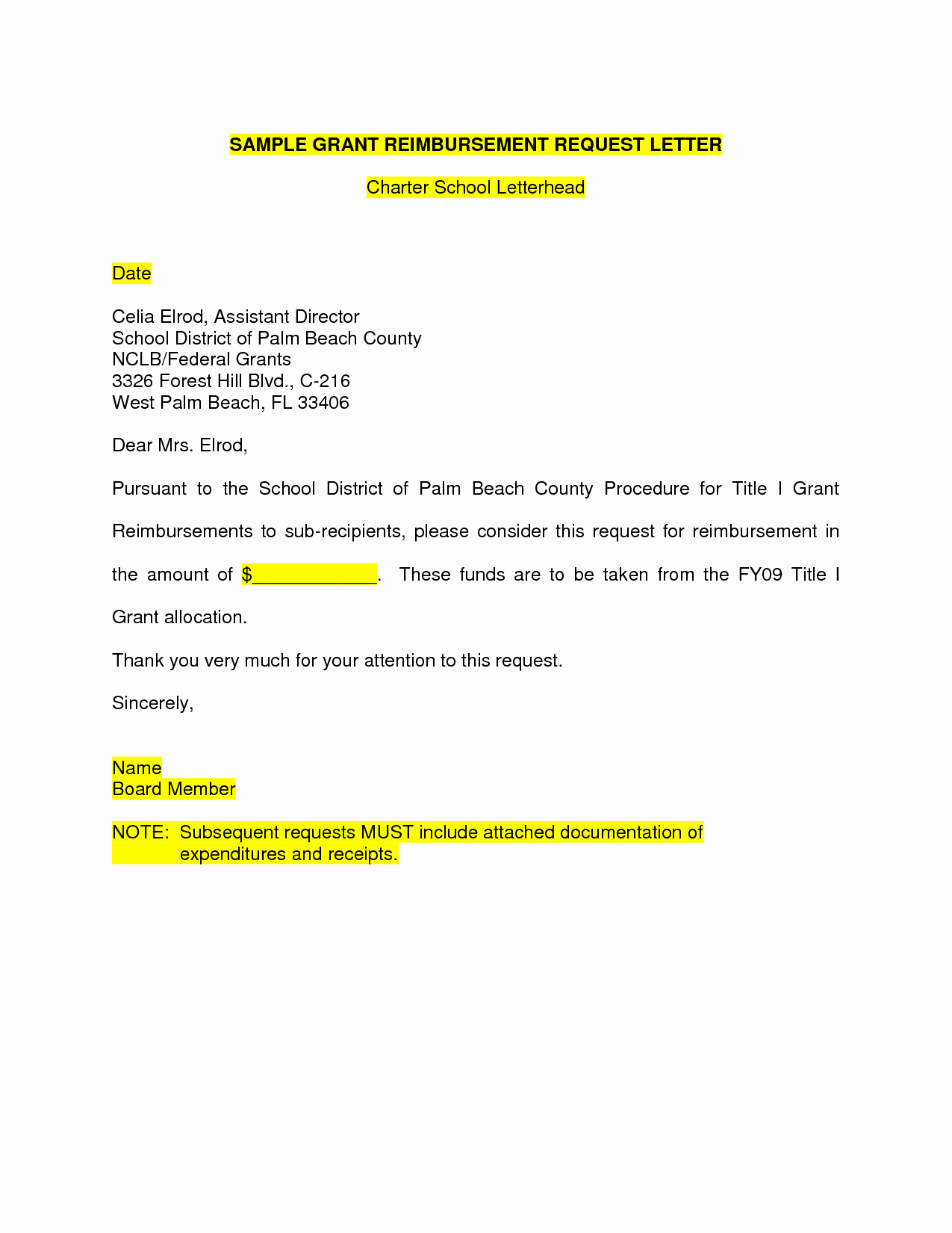 Sample Letter Of Reimbursement Money Awesome 10 Best Of Sample Grant Request Letter Education