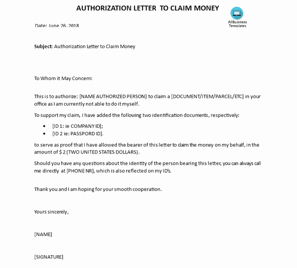 Sample Letter Of Reimbursement Money Awesome How to Write An Authorization Letter to Claim Money Quora