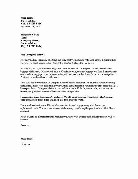 Sample Letter Of Reimbursement Money Best Of Plaint Letter Requesting Reimbursement for Lost Luggage