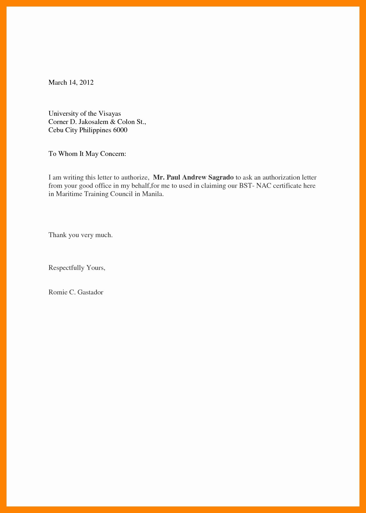 Sample Letter Of Reimbursement Money Elegant 13 Authorization Letter for Sss