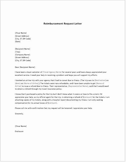Sample Letter Of Reimbursement Money Elegant Reimbursement Request form & Letter Templates