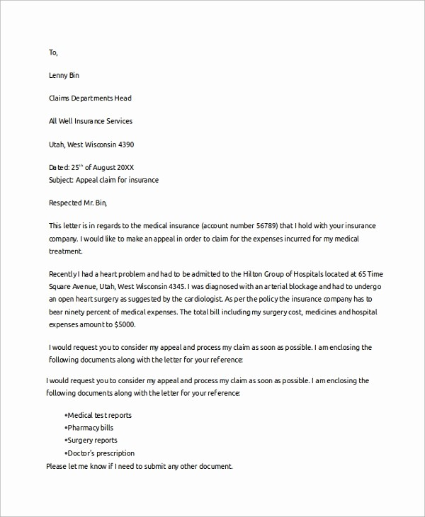 Sample Letter Of Reimbursement Money Fresh 10 Sample Claims Letters – Pdf Word Apple Pages