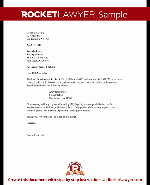 Sample Letter Of Reimbursement Money Fresh Tenant S Security Deposit Refund Letter Template with Sample