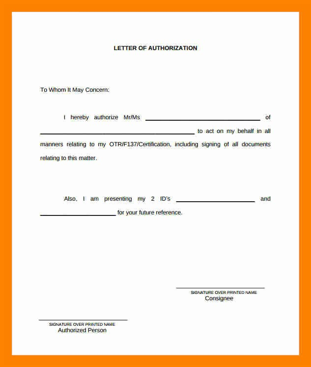 10 authorization letter to claim money