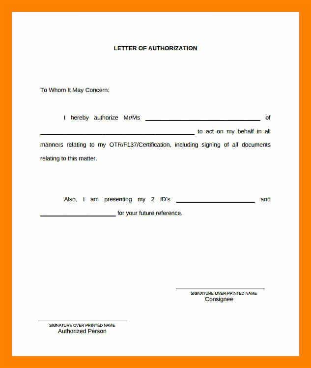 10 authorization letter to claim money