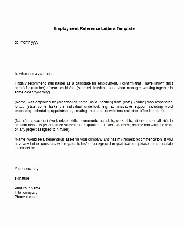 Sample Letters Of Recommendation Employee Elegant Employment Reference Letter