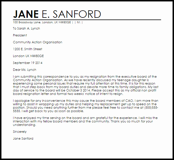 Sample Letters to Board Members Awesome Non Profit Board Resignation Letter