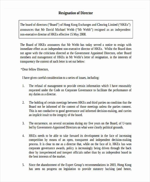 board resignation letter template