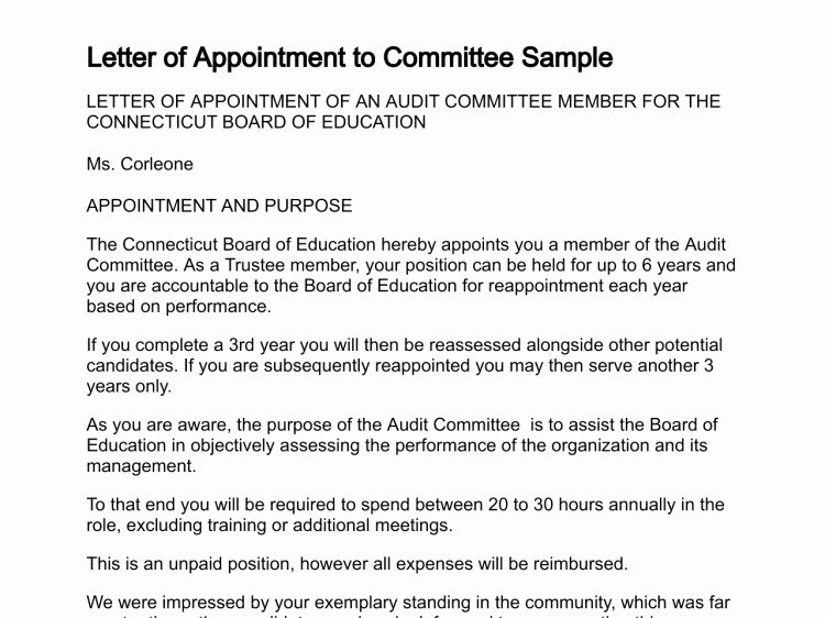 Sample Letters to Board Members Fresh Letter Of Appointment