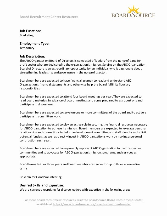 Sample Letters to Board Members Lovely Volunteer Board Member Marketing Expertise