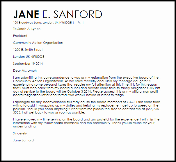 Sample Letters to Board Members New Non Profit Board Resignation Letter Example
