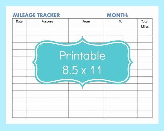 Sample Mileage Log for Taxes Beautiful Mileage Tracker form Printable Printable Mileage Tracker