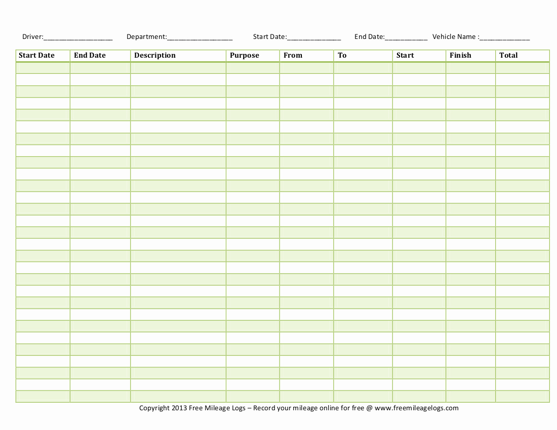 free printable mileage log