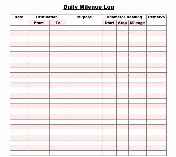 Sample Mileage Log for Taxes Inspirational Mileage Log Sheet Printable Mileage Log Template Mileage