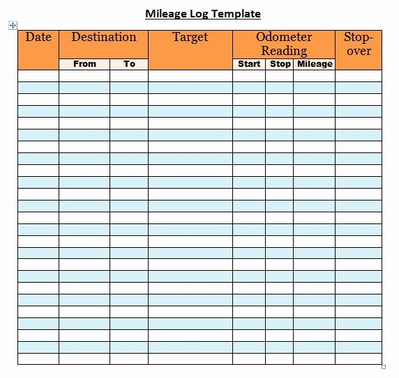 Sample Mileage Log for Taxes Lovely 30 Printable Mileage Log Templates Free Template Lab