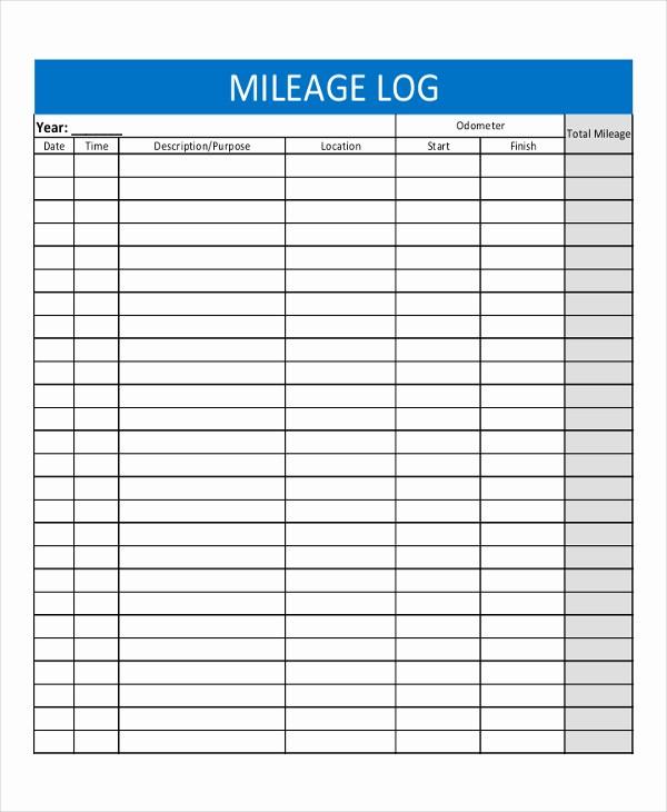Sample Mileage Log for Taxes New Mileage Log Template