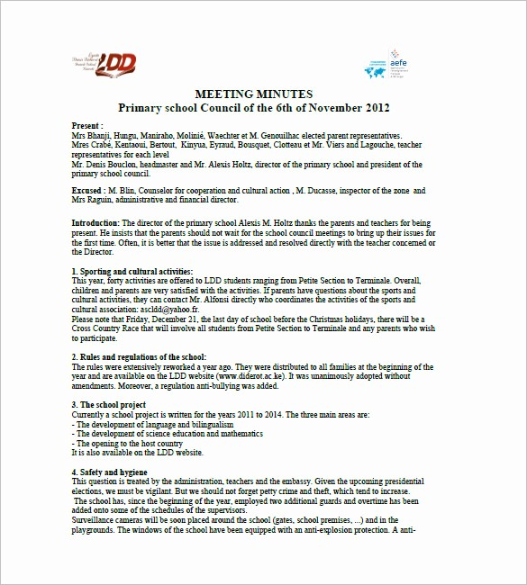 Sample Minute Of Meeting Template Awesome 18 School Meeting Minutes Templates Pdf Doc