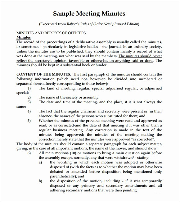 Sample Minute Of Meeting Template Elegant 10 Useful Meeting Notes Templates to Download
