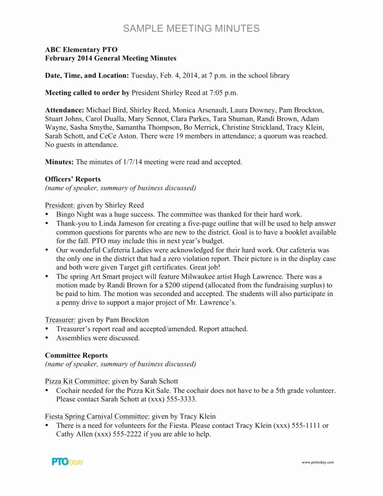 Sample Minute Of Meeting Template New 9 Meeting Minutes format Templates In Pdf