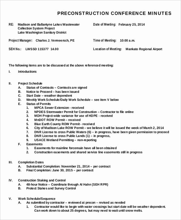 Sample Minute Of Meeting Template Unique 22 Meeting Minutes Template Free Samples Examples