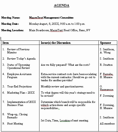 Sample Minutes for A Meeting Beautiful Meeting Agenda Sample format for A Typical Meeting Agenda