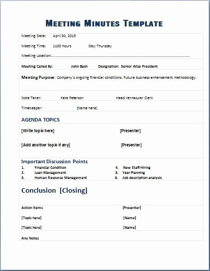 Sample Minutes for A Meeting Best Of formal Meeting Minutes Template