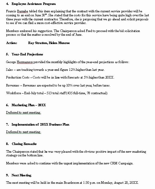 Sample Minutes for A Meeting Elegant Meeting Minutes Sample format for A Typical Meeting