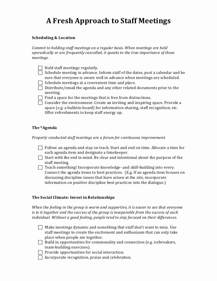 Sample Minutes for A Meeting Fresh A Fresh Approach to Staff Meetings Handout 2