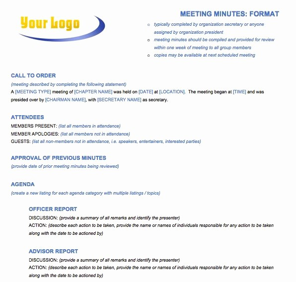 Sample Minutes for A Meeting Lovely Meeting Minutes format Template
