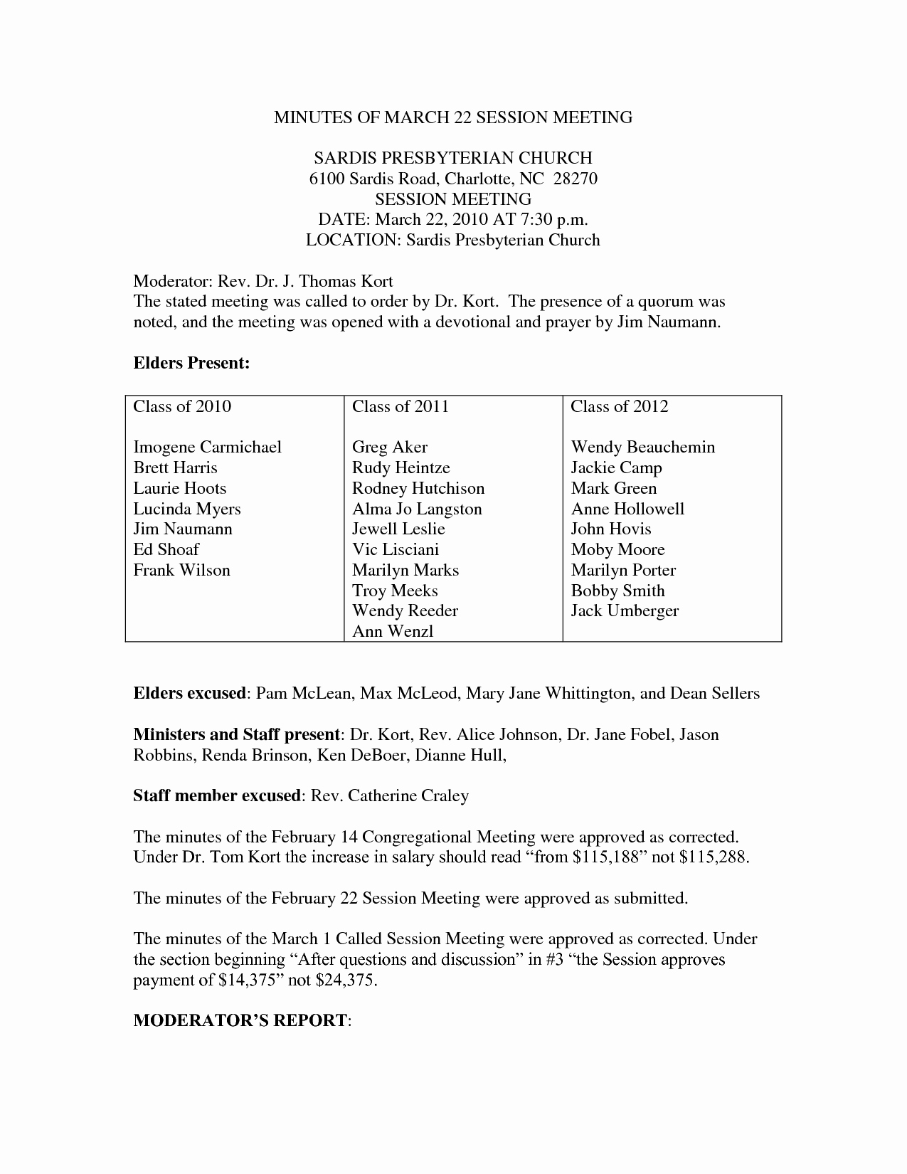 Sample Minutes Of Meeting Template Awesome 10 Best Of Church Business Meeting Minutes Sample