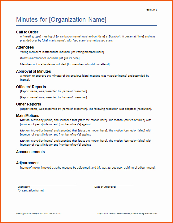 Sample Minutes Of Meeting Template Fresh 6 Minutes Of Meeting Template Bookletemplate