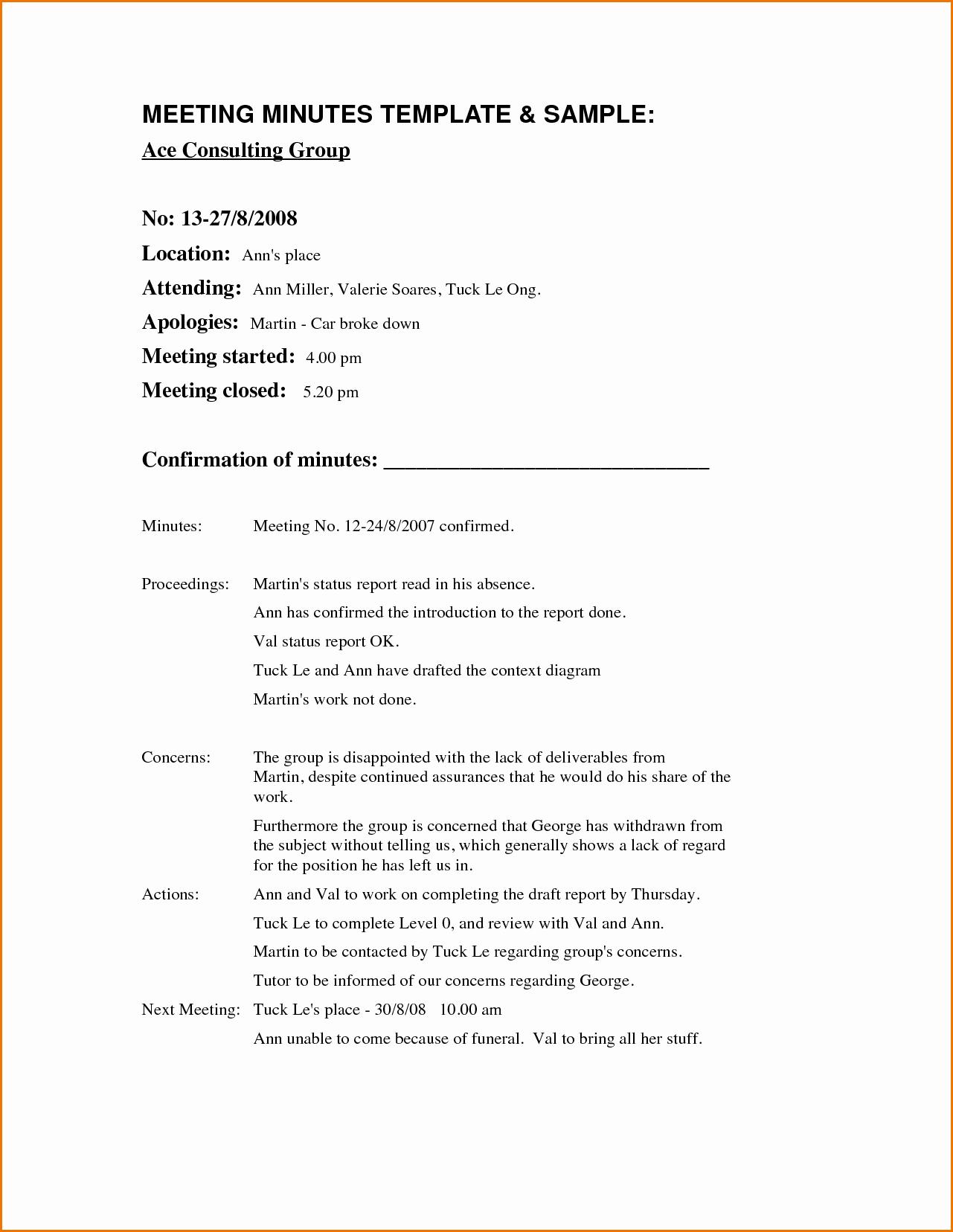 Sample Minutes Of Meeting Template Inspirational Example Meeting Minutes Portablegasgrillweber