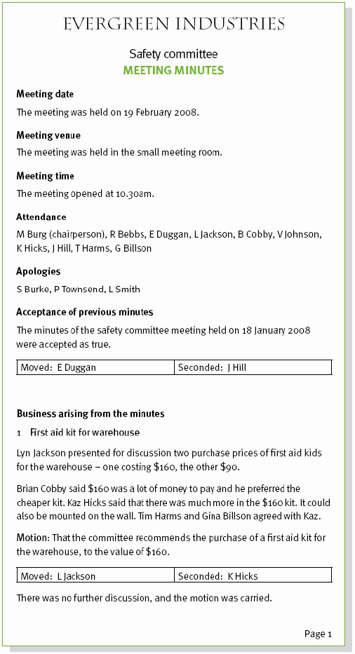 Sample Minutes Of the Meeting Fresh Sample Meeting Minutes