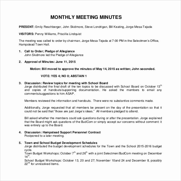 Sample Minutes Of the Meeting Inspirational 42 Free Sample Meeting Minutes Templates