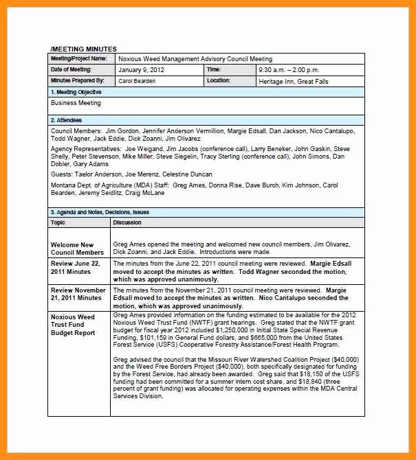 Sample Minutes Of the Meeting Luxury 9 10 Sample format for Minutes Of the Meeting